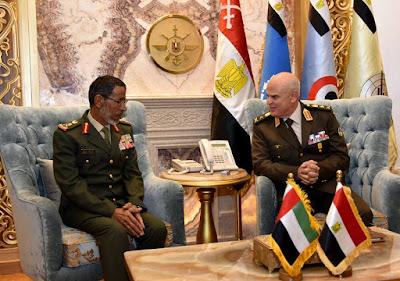 الفريق / محمد فريد رئيس أركان حرب القوات المسلحة يستقبل رئيس أركان القوات المسلحة الإماراتية
