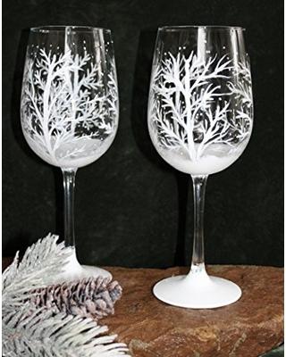 Trees hand-painted wine glasses Christmas