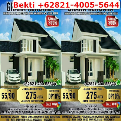 Jual Rumah Murah Mojokerto Dekat Tol, Harga Murah di Mojoanyar, Samping Jalan Raya, Bekti +62821-4005-5644