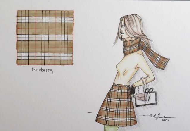 Ilustración de ejemplo en una falda y una bufanda de cuadros Burberry