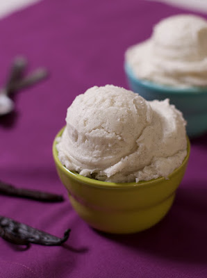 Tahitian vanilla bean ice cream in bowl