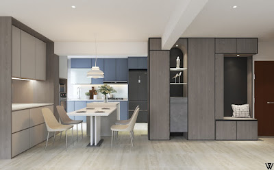 Blue Grey Kitchen & dining room swiss interior