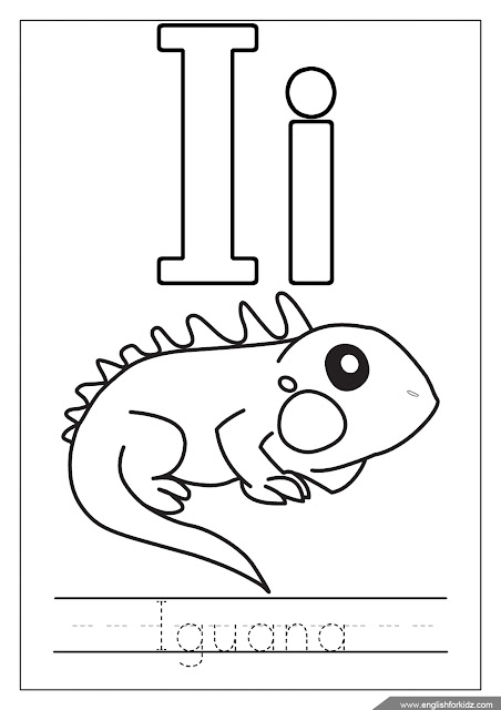 Alphabet coloring page, letter i coloring, i is for iguana