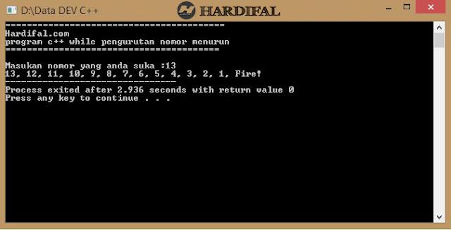 Program C++ Looping While Pengurutan Nomor Secara Menurun