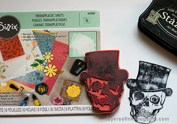 Layers of ink - Dimensional Stamped Skull Tutorial by Anna-Karin Evaldsson, with Sizzix Thermoplastic Sheets.