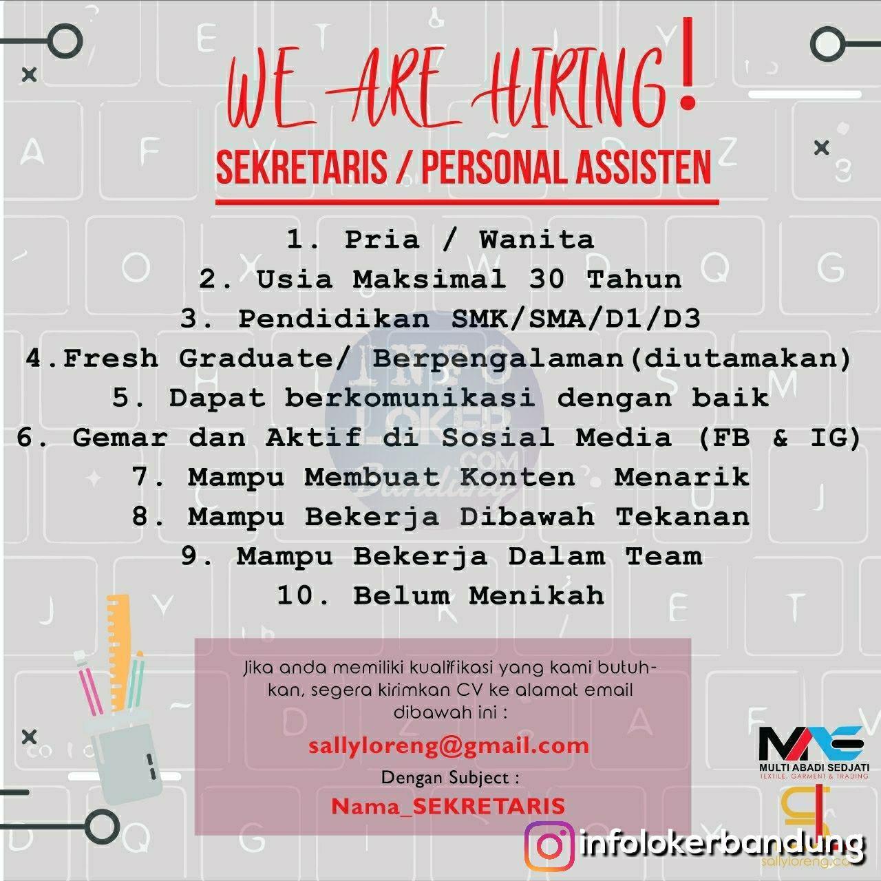 Lowongan Kerja Sekretaris Sally Loreng Bandung November 2018