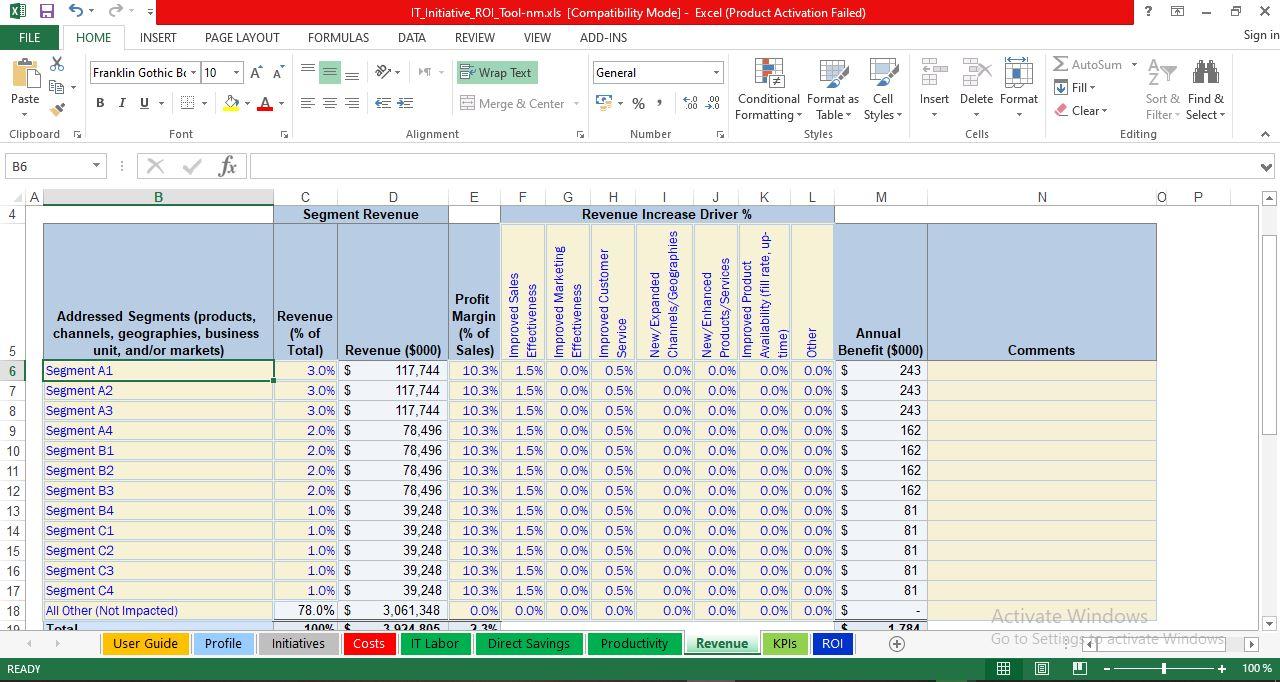 Revenue Impact worksheet