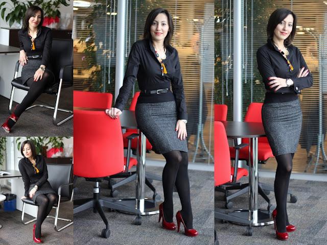 Fashion Tights Skirt Dress Heels Business Woman Look