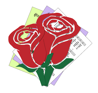 Picture of roses on hymn sheet music icon
