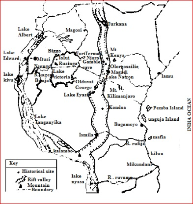 east africa map showing historical sites