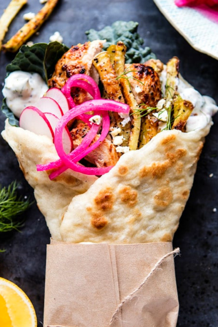 Roasted Chicken Gyros with Tzatziki and Feta Fries