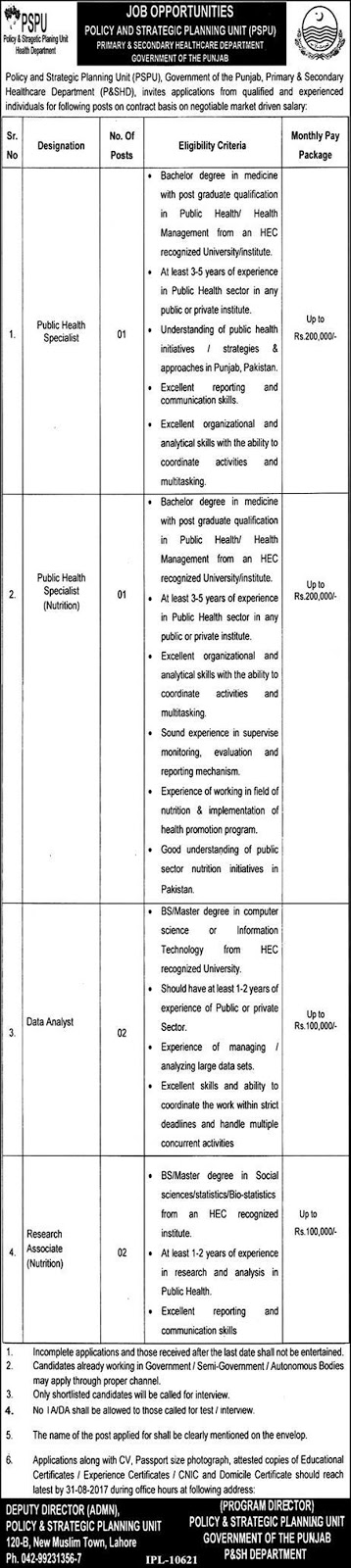 Jobs Primary And Secondary Healthcare Department Lahore  Aug 2017