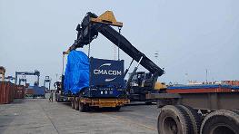 Unloading-Loading Container CMA CGM Cargo Flat Rack