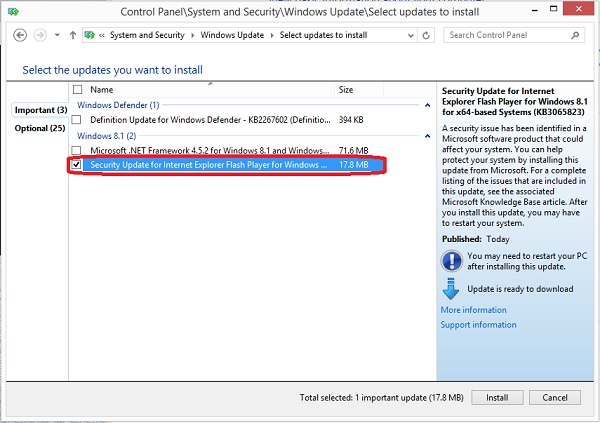 Install updates for Internet Explorer Flash Player on Windows 8 or 8.1 through Windows Update