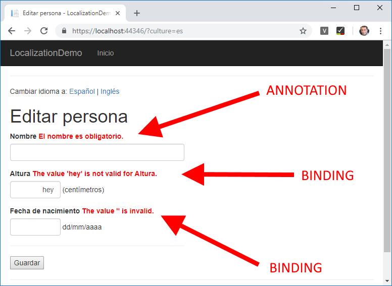 Formulario donde aparecen traducidos algunos errores de validación, pero otros aparecen en el idioma por defecto