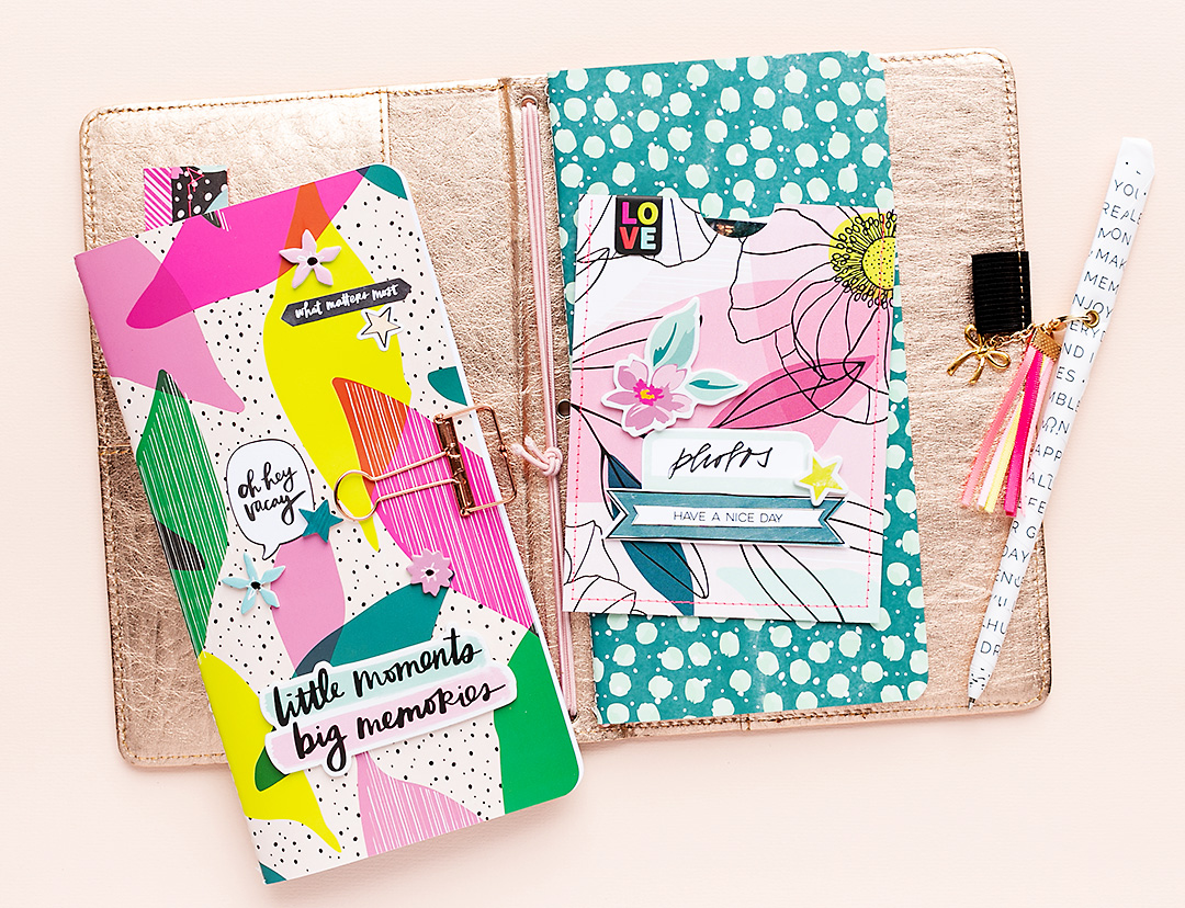 Fun and bright journal front with stickers and phrase stickers by Amy Tangerine