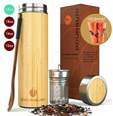Dounguri Tea Mug: Bamboo Coffee Tumbler - Stainless Steel Thermos