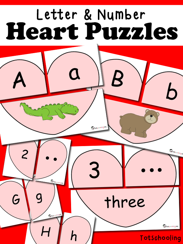 Free printable heart-shaped puzzles for toddlers and preschoolers to practice letters, letter cases, letter sounds, numbers and number quantity. Great Valentine's Day activity!