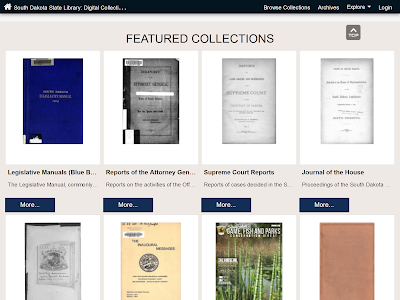 screenshot of state library featured collections webpage