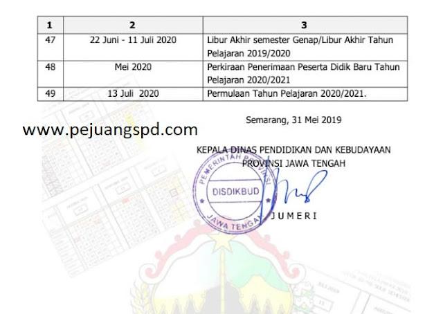 Kalender Pendidikan provinsi Jawa Tengah Tahun Pelajaran2019/2020 untuk SMA/MA/SMK/MK