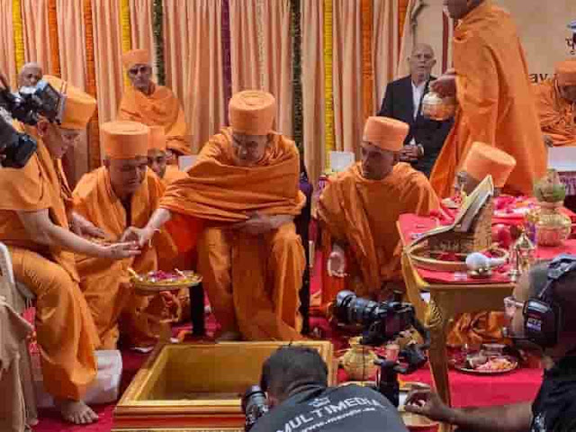 FOUNDATION STONE LAID FOR THE FIRST HINDU TEMPLE IN UAE