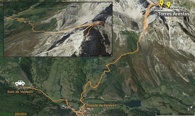 Mapa de la ruta señalizada a las Torres de Arestas por el Canal de Pambuches en Picos de Europa.