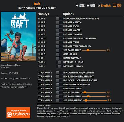 Tampilan Trainer game RAFT PC