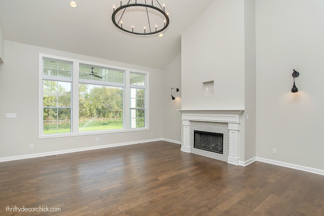 Two story great room with fireplace
