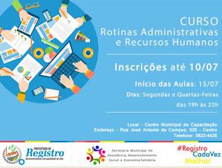 Inscrições abertas para nova turma do Curso Rotinas Administrativas e Recursos Humanos