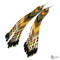 купить очень длинные серьги из бисера этно-украшения
