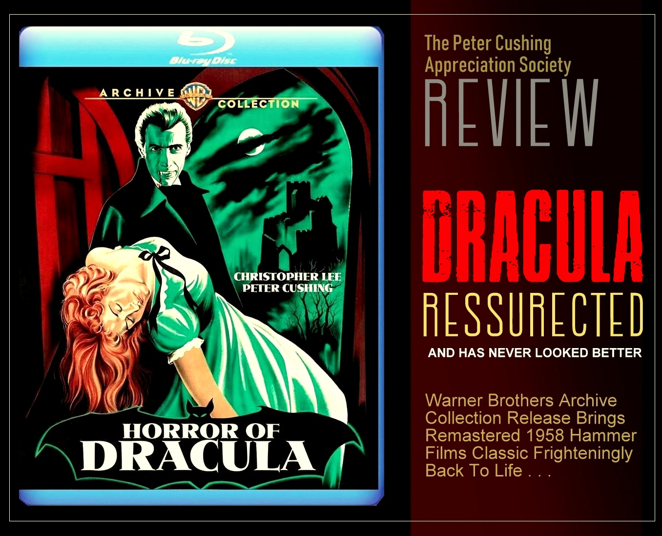 A FULL REVIEW OF WARNER BROS ARCHIVES HORROR OF DRACULA RESURRECTED REMASTERED BLU RAY