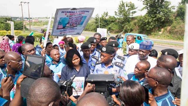 WOMEN ARISE PROTESTS ILLEGAL  DETENTION OF MRS ROFIAT OLADEPO, 9-MONTH OLD SON