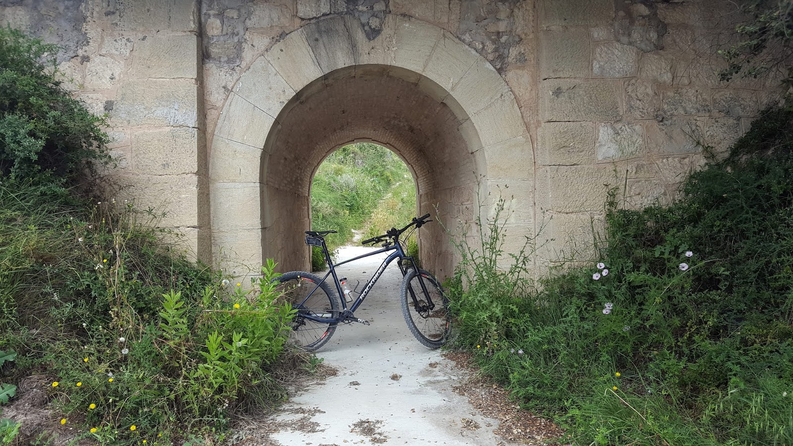 Bicycle under stone bridge, Valencia, Spain