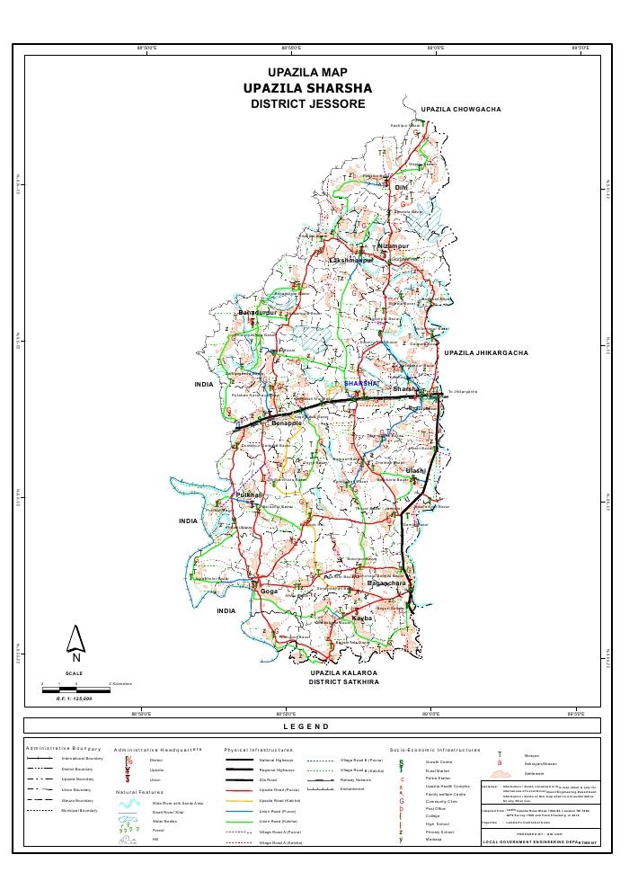 Sharsha Upazila Map Jessore District Bangladesh