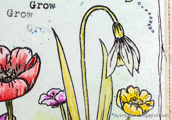 Layers of ink - Thoughtful Flowers Watercolor Garden Tutorial by Anna-Karin Evaldsson. Stamped and watercolored snowdrop.
