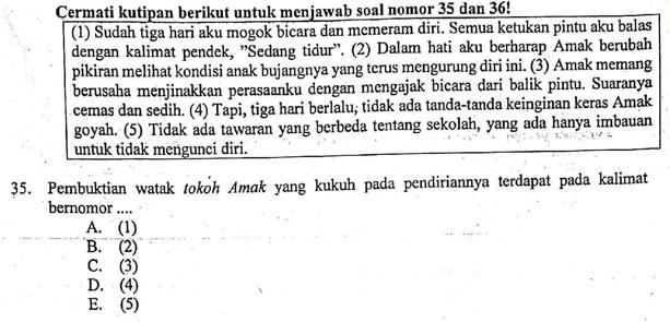 Contoh Soal Bukti Watak Tokoh Kalimat Yang Menunjukkan Watak Tokoh Zuhri Indonesia