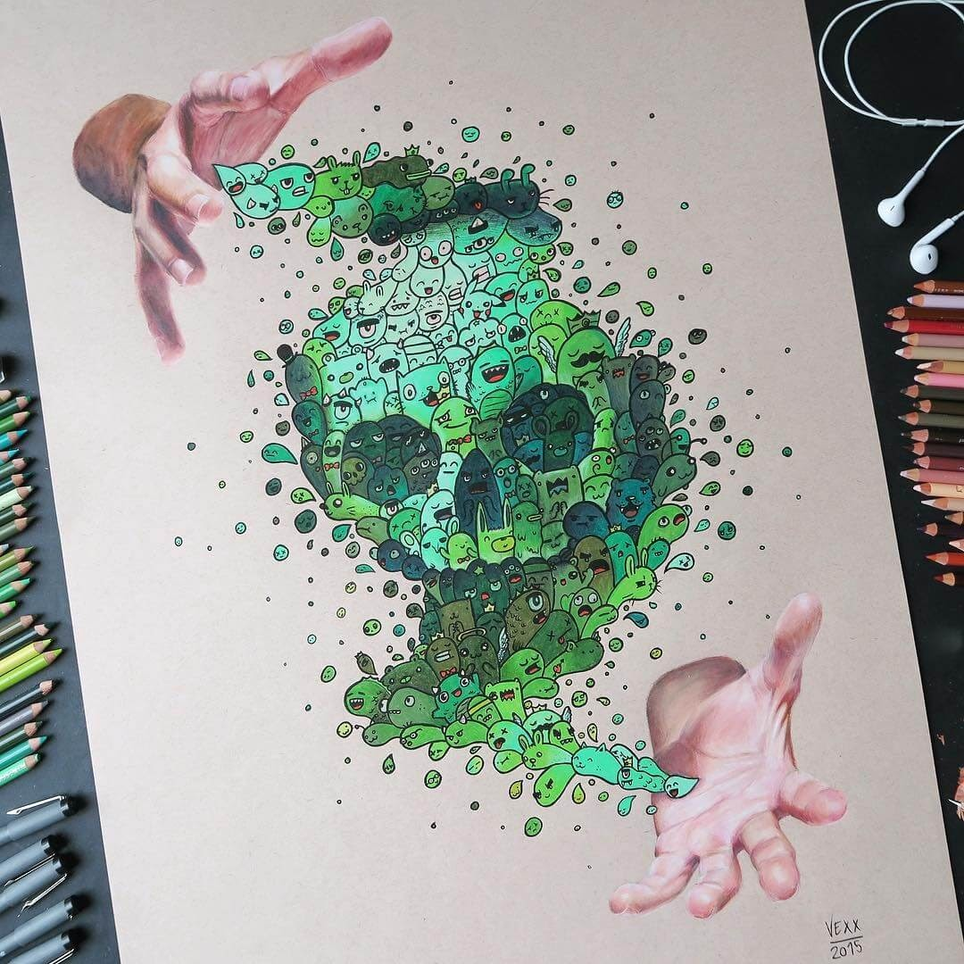 06-Skull-Vince-Okerman-aka-Vexx-11-Doodle-Drawings-and-1-Painting-www-designstack-co