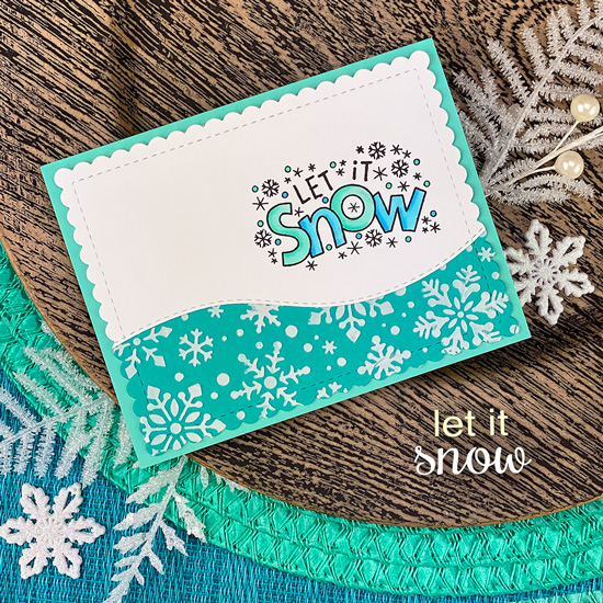 Let it Snow Card by Jennifer Jackson | Let it Snow Stamp Set, Snowfall Stencil, Land Borders Die Set and Frames & Flags Die Set by Newton's Nook Designs #newtonsnook #handmade