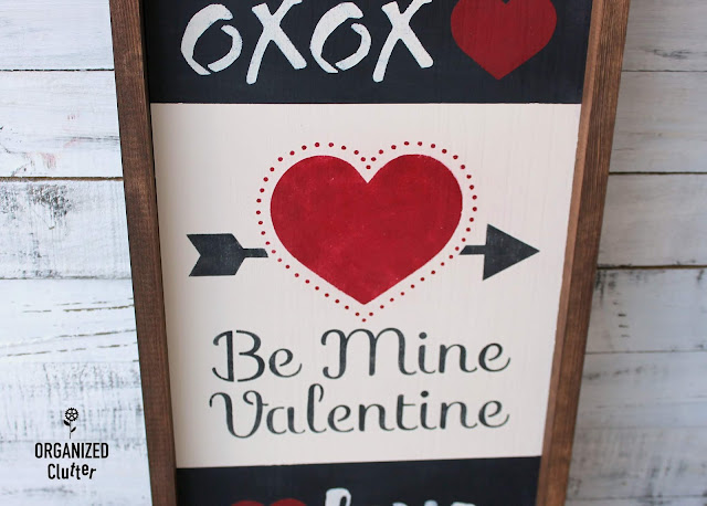 An Easy DIY Valentine's Day Stenciled Collage Sign #stencil #dixiebellepaint #folkartstencil #valentinesday #frogtape