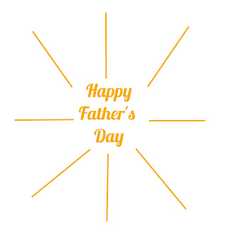 Free Happy Father's Day JPG graphic featuring sun rays and golden yellow text.