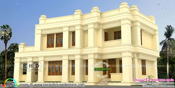 Colonial model double storied house