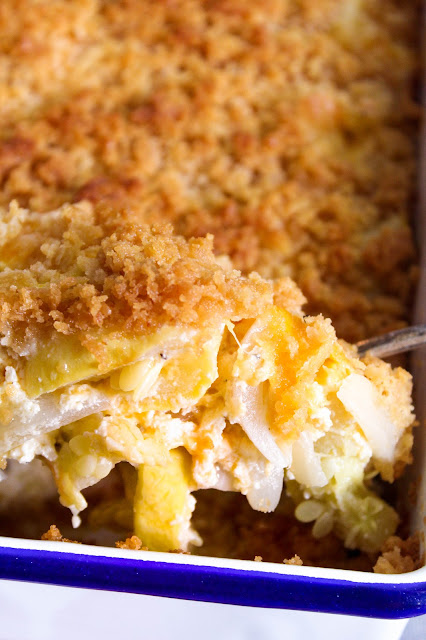Exceptional Squash Casserole, tender yellow squash in a creamy, rich sauce, topped with buttery crackers.  A must for holidays, bring it to a potluck and sit back and smile hearing all the yummy comments.