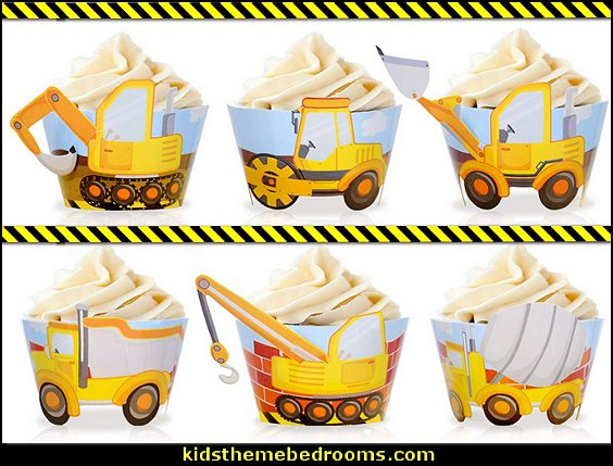 Construction Zone Party Theme Supplies Vehicles Themed Cake Table Centerpieces Construction Birthday Party Cupcake Wrappers Toppers