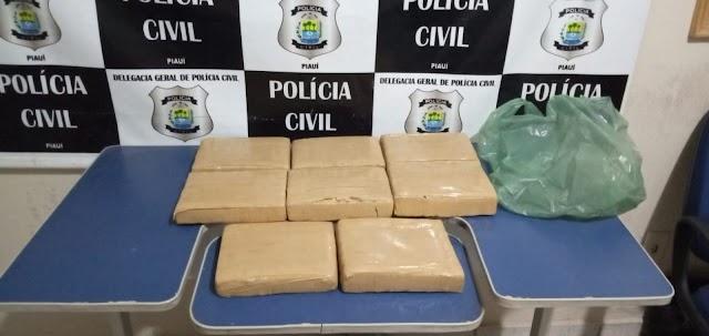 Policias apreendem quase 10kg de drogas na PI-245 no município de Geminiano
