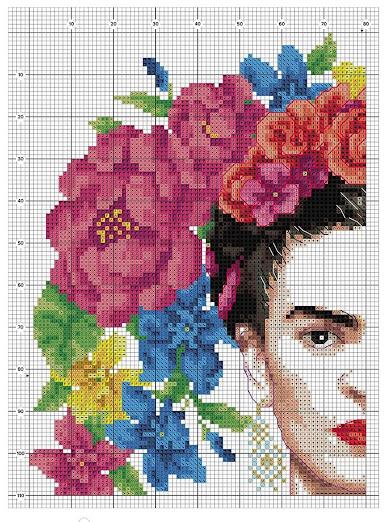 schema punto croce Frida kalo