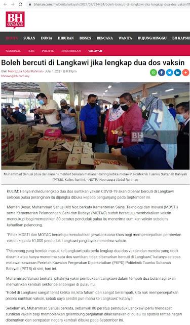 Boleh bercuti di Langkawi jika lengkap dua dos vaksin