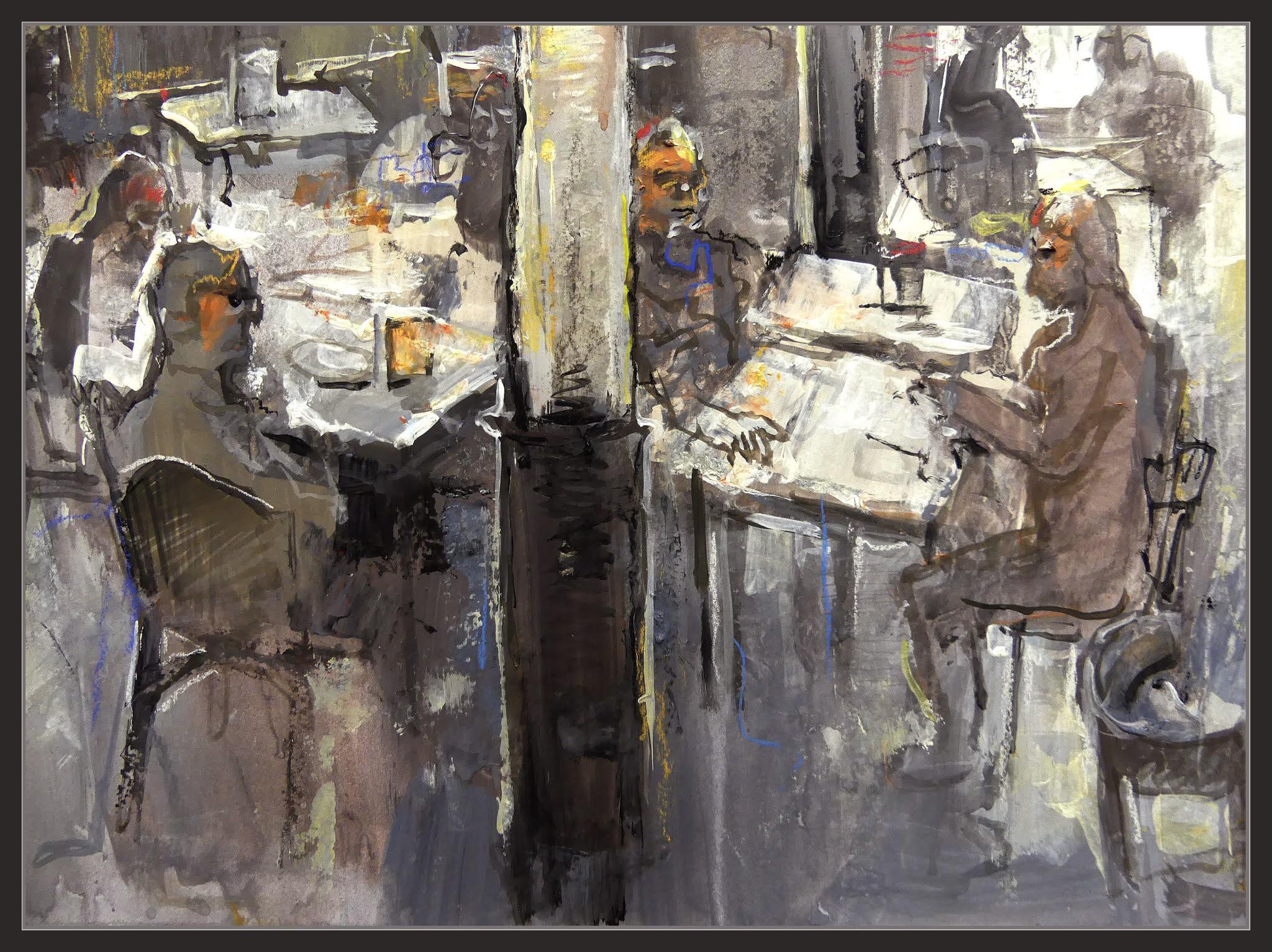 CAFE ZURICH-PINTURA-BARCELONA-ART-INTERIORS-CAFETERIES-DETALLS-PERSONES-PINTURES-ARTISTA-PINTOR-ERNEST DESCALS-