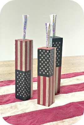DIY American Flag Antiqued Decoupaged Summer Firework Blocks