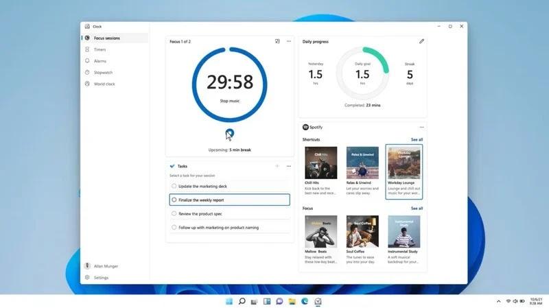 Focus Sessions di Windows 11 integra Spotify e To Do nell'app Sveglie e orologio