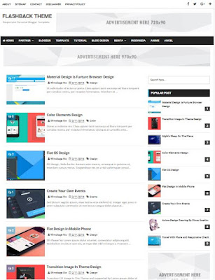 Flashback Adsense Responsive Blogger Templates Without Footer Credit